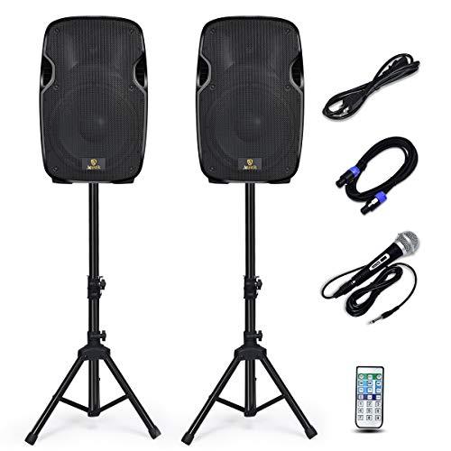 AKUSTIK Dual 2-Way Powered PA Speaker System, Portable DJ...
