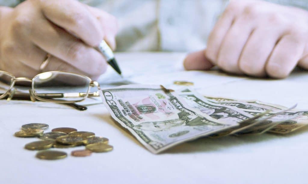 man considers finances
