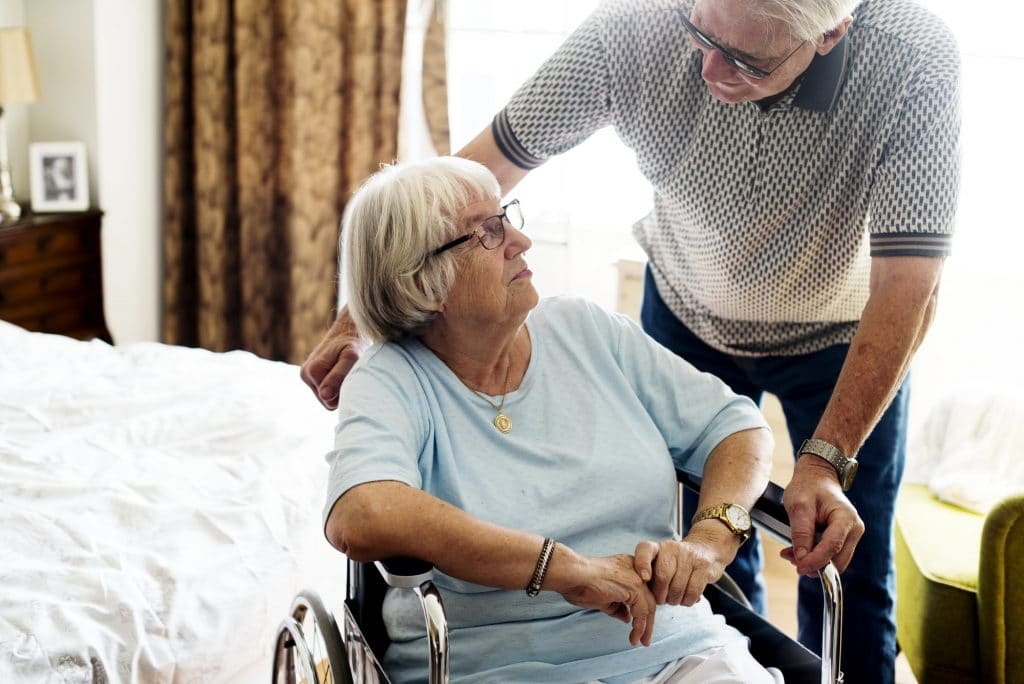 Senior couple taking care of each other