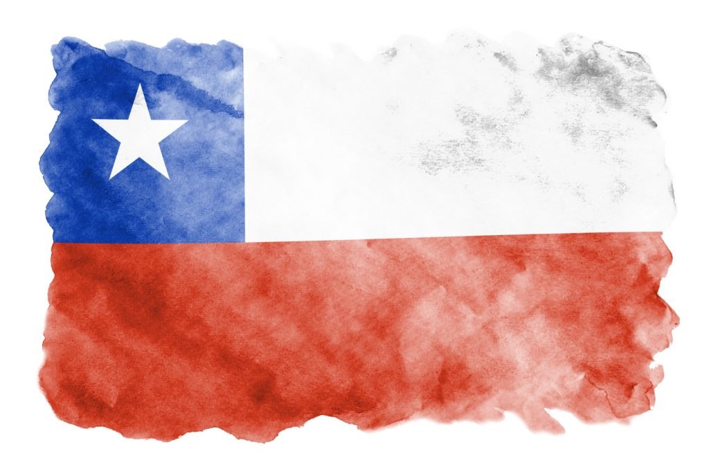 Chile flag is depicted in liquid watercolor style isolated on white background