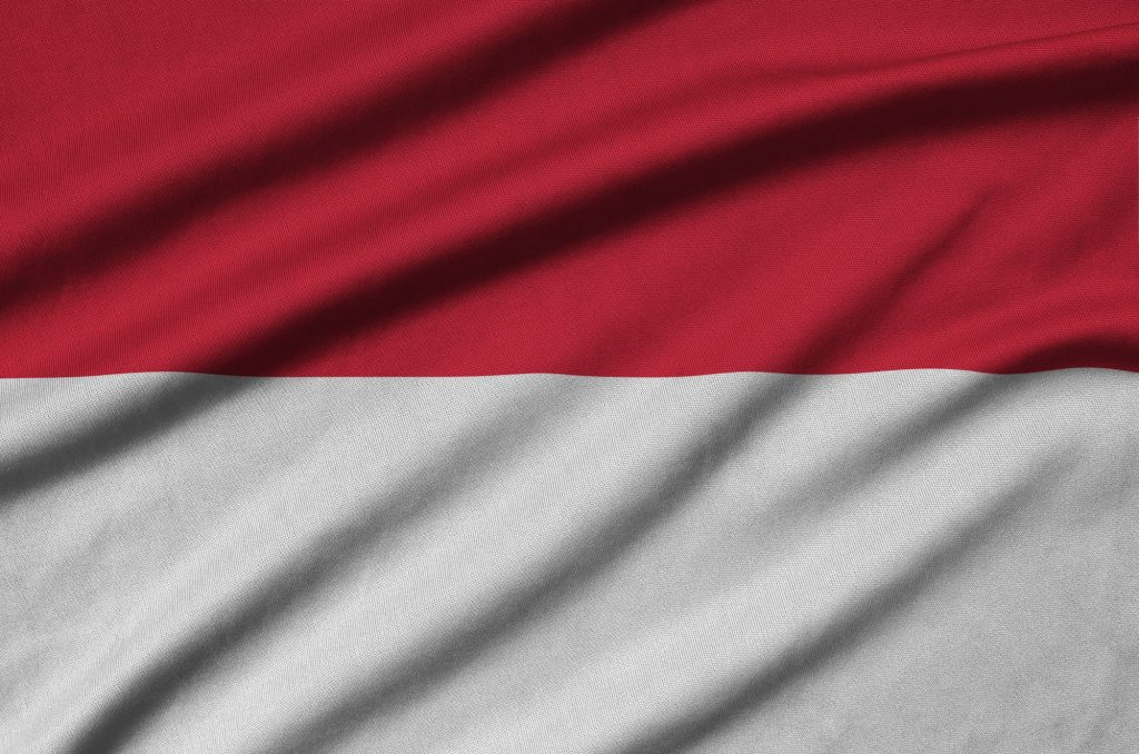 Indonesia flag is depicted on a sports cloth fabric with many folds. Sport team waving banner