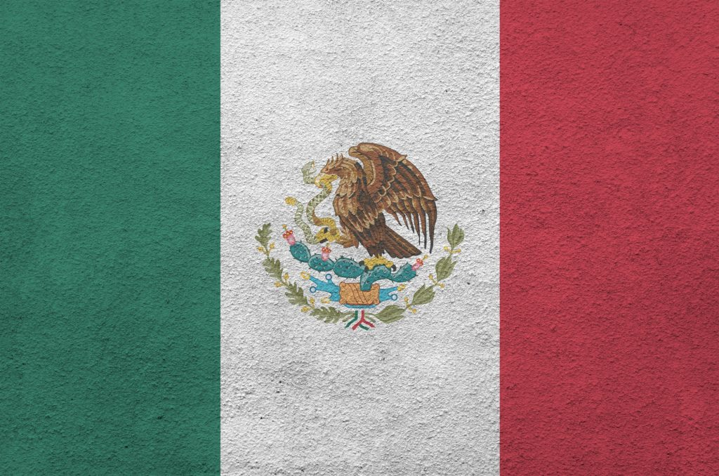 Mexico flag depicted in bright paint colors on old relief plastering wall close up
