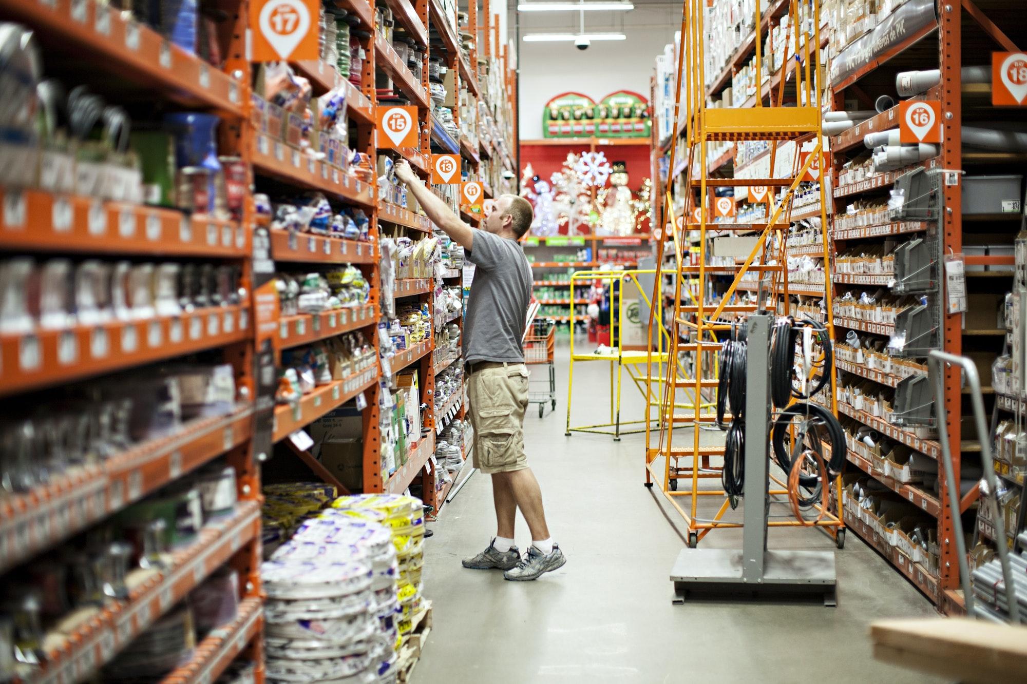 Man shopping at home improvement store