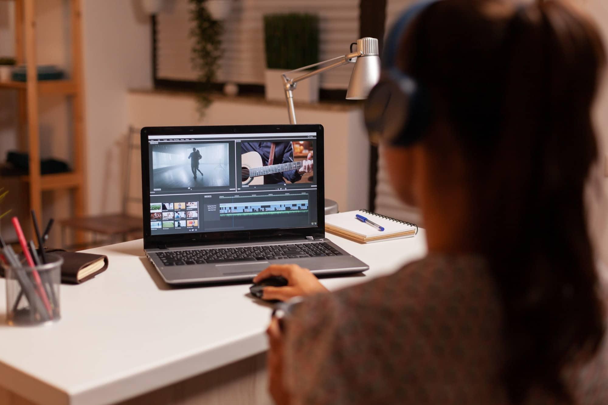 Filmmaker editing video footage