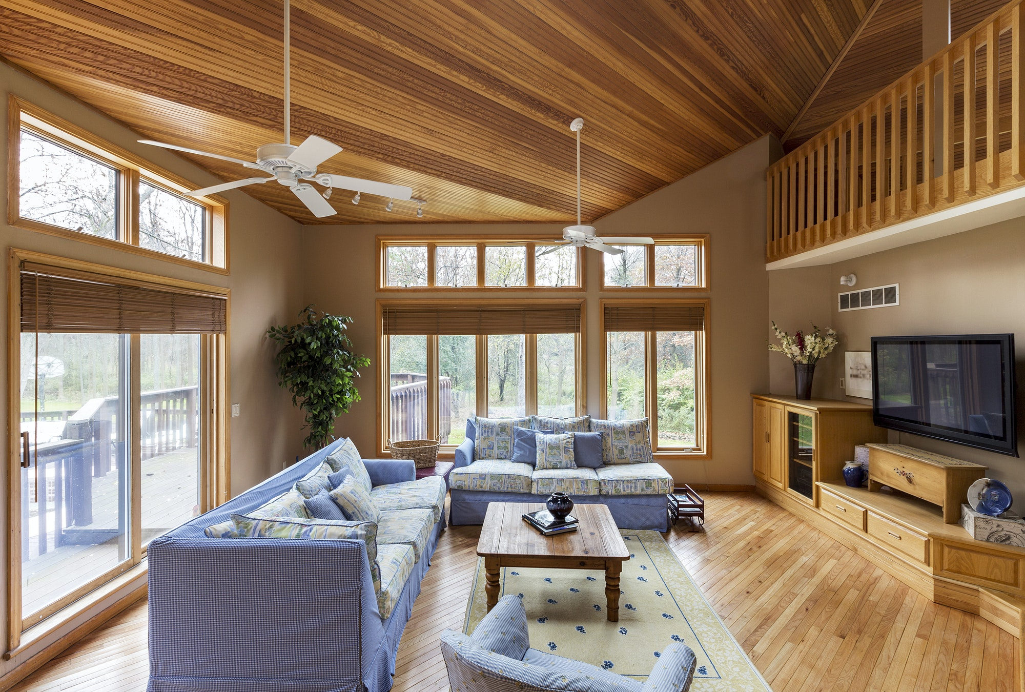 54679,Hardwood floor and ceilings in living room