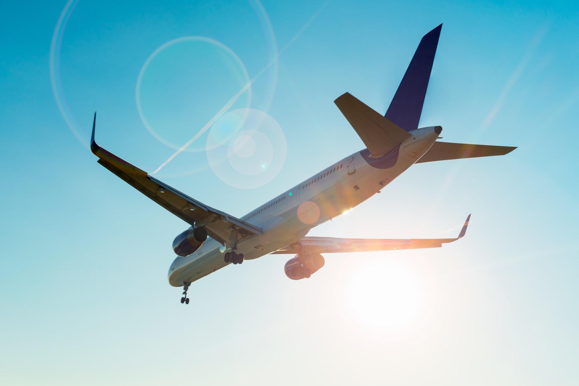 Aeroplane is flying landing at airport