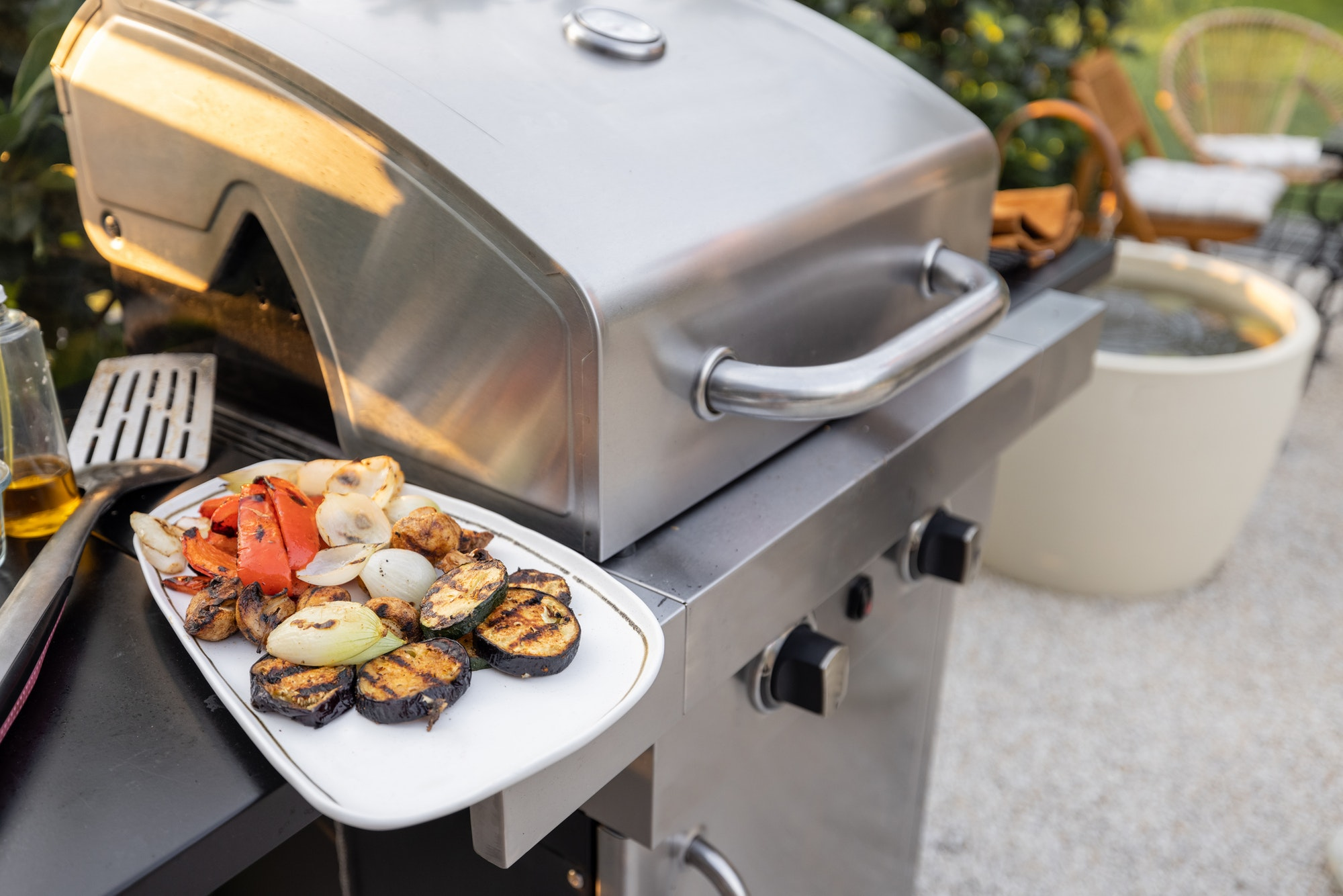 Grilled vegetables on a grill