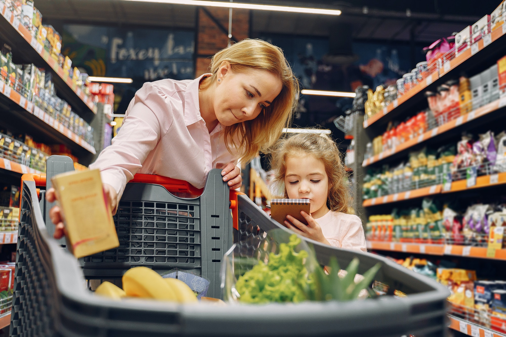 The family buys groceries at the supermarket